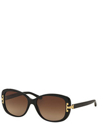 Tory Burch Universal Fit Squared Cat Eye Sunglasses Black