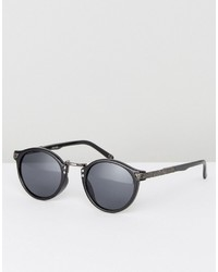 Asos Vintage Round Sunglasses In Black With Arm Detailing