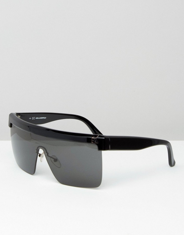 e1ff625c5c Visor Sunglasses. Black Sunglasses by Karl Lagerfeld