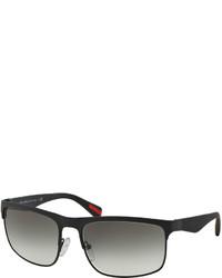 b19f7078f919 Prada Wire Frame Rectangular Sunglasses Matte Black