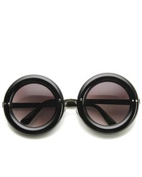 ZeroUV High Fashion Bold Rim Thick Donut Round Oversized Sunglasses