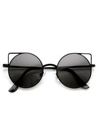 ZeroUV Thin Metal Cut Out Geometric Round Cat Eye Sunglasses