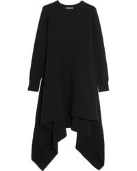 Alexander McQueen Asymmetric Cashmere Sweater Dress Black