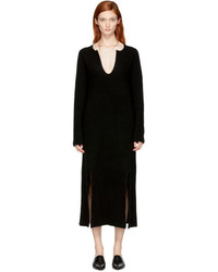 Rosetta Getty Black Cashmere Slit Front Sweater Dress