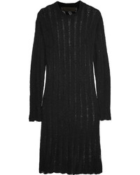 The Elder Statesman Cashmere And Silk Blend Sweater Dress Black