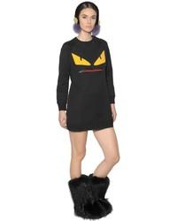 Fendi Zipped Mouth Monster Sweatshirt Dress