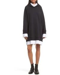 MM6 MAISON MARGIELA Hooded Sweatshirt Dress With Pleated Trim