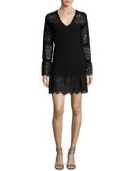 Nanette Lepore Long Sleeve Lace Trim Wool Sweaterdress Black