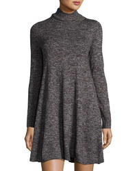 Max Studio Marbled Turtleneck Sweaterdress Blackgray