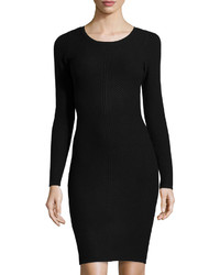 Andrew Marc Marc New York By Long Sleeve Ribbed Sweater Dress Black