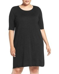 Eileen Fisher Plus Size Crewneck Merino Jersey Sweater Dress
