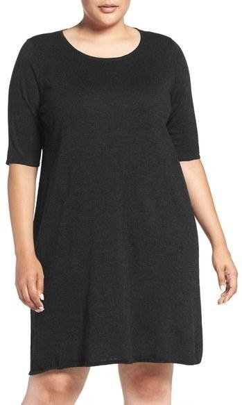 Eileen Fisher Plus Size Crewneck Merino Jersey Sweater Dress, $258 ...