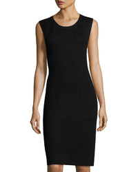 Vince Ribbed Sleeveless Sweater Dress Black