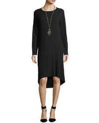 Eileen Fisher Ribbed Washable Wool Crepe Ribbed Sweaterdress