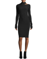 Helmut Lang Tieback Long Sleeve Fitted Sweater Dress