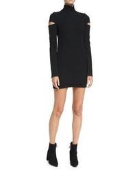 Helmut Lang Turtleneck Slit Long Sleeve Mini Sweater Dress