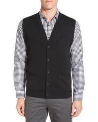 John W. Nordstrom V Neck Wool Button Front Sweater Vest