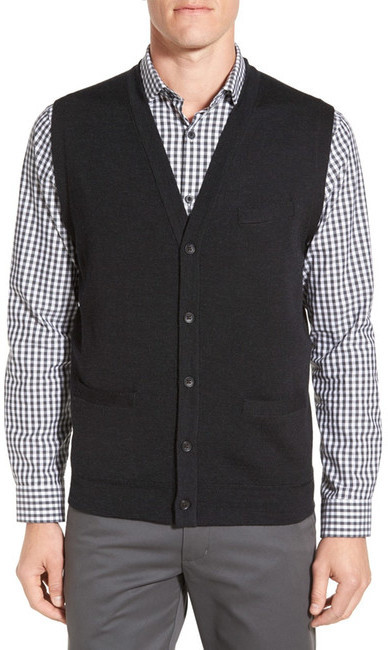 John W. Nordstrom V Neck Wool Button Front Sweater Vest | Where to ...