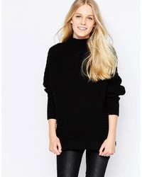 Vila Indie High Neck Textured Sweater In Black