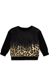 River Island Mini Boys Black Leopard Print Sweatshirt