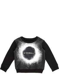 River Island Mini Boys Black Snowball Print Sweatshirt