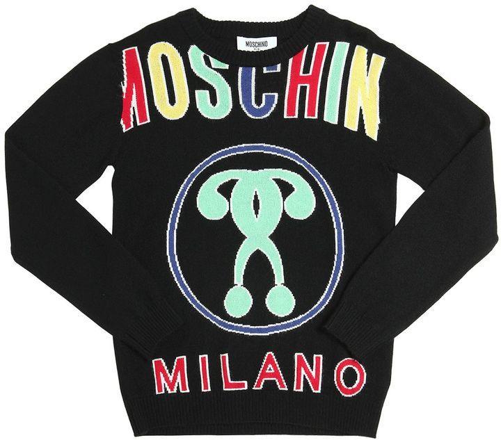 Moschino Logo Jacquard Wool Blend Sweater
