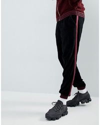 ASOS DESIGN Asos Knitted Co Ord Chenille Joggers With Stripe In Burgundy