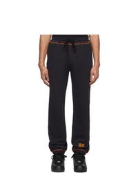 Phlemuns Black Contrast Stitch Lounge Pants