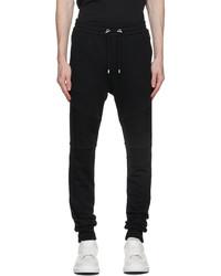 Balmain Black Flocked Logo Lounge Pants