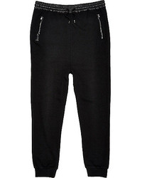River Island Black Leather Look Trim Joggers