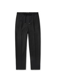 Saint Laurent Black Tapered Wool Drawstring Trousers