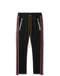 Rhude Black Traxedo Slim Fit Tapered Webbing Trimmed Satin Jersey Drawstring Trousers