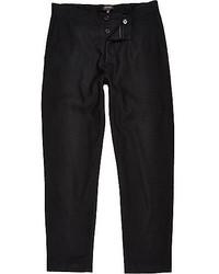 River Island Black Wool Blend Jogger Pants
