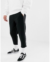 YOURTURN Cropped Jogger With Side Piping In Black