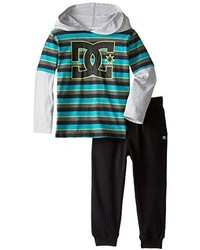 DC Little Boys Toddler Black Striped Hoody With Pants