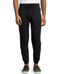 Cohesive Diamond Quilted Inset Drawstring Sweatpants Black