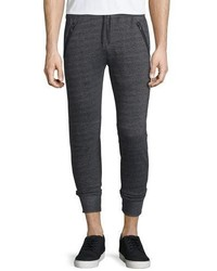 John Varvatos Star Usa Textured Knit Drawstring Jogger Pants Black