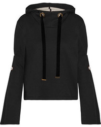 Mother of Pearl Doyle Embellished Cotton And Modal Blend Hooded Sweatshirt Black