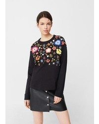 Mango Floral Embroidered Sweatshirt