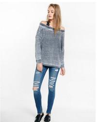 Express One Eleven Burnout Off The Shoulder Sweatshirt