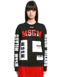 MSGM Oversized Logos Print Cotton Sweatshirt
