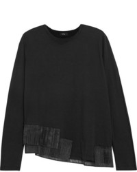 Clu Pleated Organza Trimmed Cotton Jersey Sweatshirt Black
