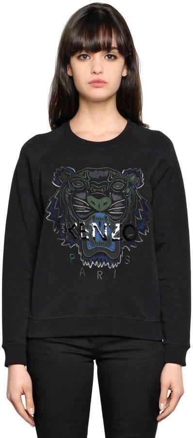 7f6e9bf5e9b Kenzo Tiger Embroidery Cotton Sweatshirt, $270 | LUISAVIAROMA ...