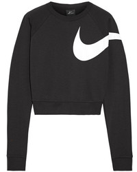 Nike Versa Dri Fit Cropped Printed Jersey Sweatshirt Black