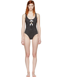 Fendi Black Perforated Karlito Swimsuit