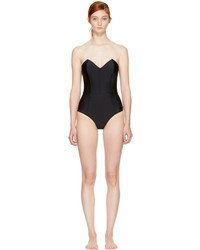 Fleur Du Mal Black Strapless V Neck Swimsuit