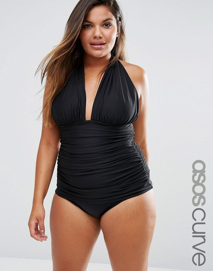 good selling meet best choice $56, Asos Curve Curve Ruched Halter Swimsuit