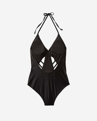 Express Halter Neck Lace Up Cut Out One Piece Swimsuit