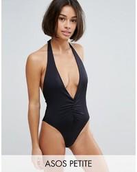 Asos Petite Petite Ruched Plunge High Leg Halter Swimsuit