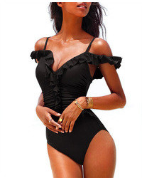 ChicNova Pure Color Lace One Piece Swimwear